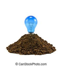 lightbulb in soil