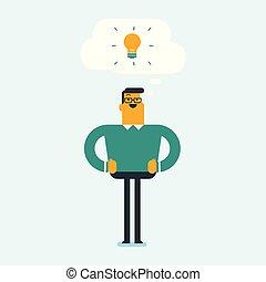 lightbulb, indicare, idea, giovane, studente, caucasico