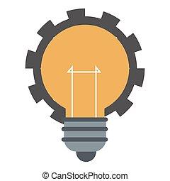 lightbulb, ingranaggio, icona