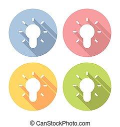 lightbulb, jogo, ícones, idéia, criativo, elétrico