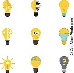 lightbulb, jogo, estilo, ícones, apartamento