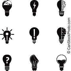 lightbulb, jogo, estilo, ícones simples