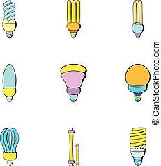 lightbulb, jogo, estilo, caricatura, ícones
