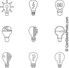 lightbulb, jogo, estilo, esboço, ícones