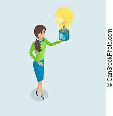 lightbulb, kobieta handlowa, idea, dzierżawa wręcza