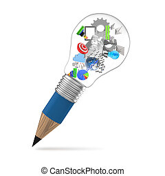 lightbulb, lápis, conceito, negócio, criativo, desenho, 3d
