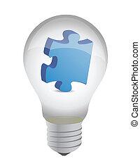 lightbulb, laissez perplexe morceau, conception, illustration