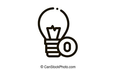 Lightbulb Lamp Icon Animation. black Lightbulb Lamp animated icon on white background