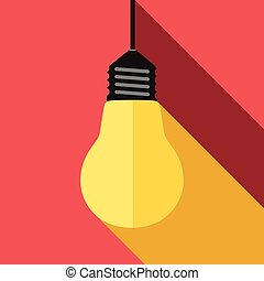 Glowing yellow lightbulb, long light and shadow on red. Inspiration, insight, aha moment, inspired, creativity, invention, idea, innovation concept. EPS 8 vector illustration, no transparency