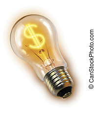 Lightbulb with $ sign instead of filaments