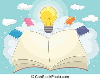 lightbulb, livre ouvert, nuages, idées