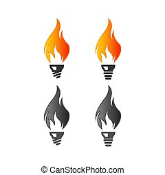 lightbulb logo design template with the concept of fire inside, light bulb set logo design