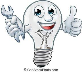 lightbulb, lumière, caractère, ampoule, dessin animé, mascotte