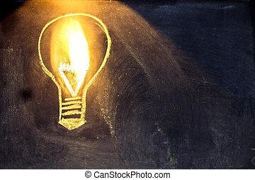 lightbulb, lumière, croquis, tableau noir