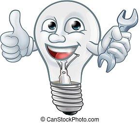 lightbulb, luz, personagem, bulbo, caricatura, mascote