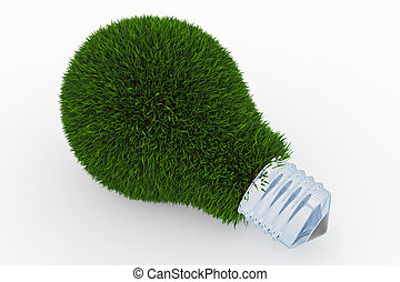 Lightbulb made of green grass