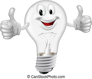 Lightbulb man - Illustration of a happy cartoon lightbulb ...