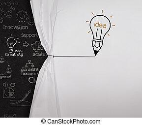 lightbulb, matita, disegnare, concetto, mostra, corda, carta, nero, asse, vuoto, spiegazzato, aperto