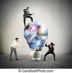 lightbulb, mecanismos, de, engrenagens