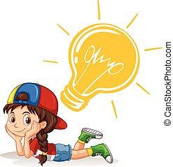 lightbulb, menina, pequeno, cabeça, dela
