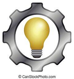 lightbulb, morceau, engrenage, icône
