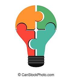 lightbulb, morceaux puzzle, créer, icône