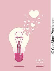 lightbulb of love concept vector