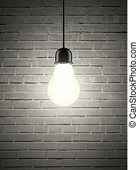 lightbulb on brick wall