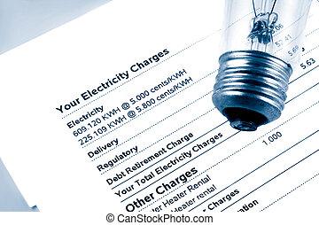 electricity bill - lightbulb on electricity bill stating...