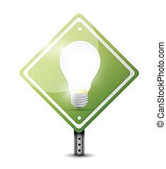 lightbulb, ontwerp, straat, illustratie, meldingsbord
