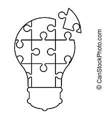 lightbulb, opgave, ikon, stykker
