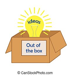 lightbulb out of the box ideas text, concept of creativity...