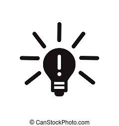lightbulb, płaski, biały, czarnoskóry, ikona