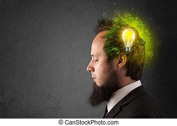 lightbulb, pensando, energia, mente, jovem, eco, verde