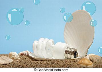 lightbulb, perle, océan