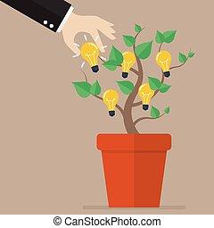 lightbulb, pico, árvore, idéia, mão