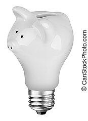 lightbulb, piggybank