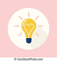 lightbulb, plat, liefde, pictogram