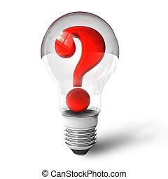 lightbulb, point interrogation