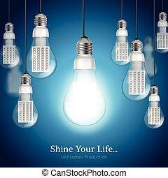 lightbulb, poprowadzony, tło