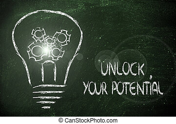 lightbulb, potentieel, ontsluiten, tandwielen, jouw