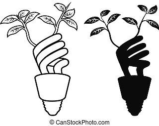 lightbulb, poupar, energia, folha