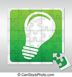 Lightbulb puzzle - Vector illustration of lightbulb puzzle...
