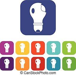 lightbulb, quebrada, ícones, jogo, apartamento