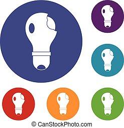 lightbulb, quebrada, jogo, ícones