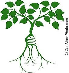 lightbulb, raiz, árvore