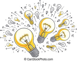 lightbulb, satz, illustration., begriff, licht, heiligenbilder, ideen, kreativ, vektor, allegorie, zwiebel, geistesblitz, blank