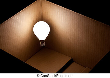 lightbulb, scatola, luminoso, galleggiante