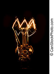 lightbulb, scuro, ardendo, fondo, tungsteno, filamento