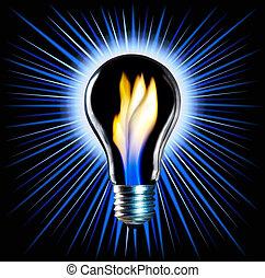 Lightbulb - Shiny bulb isolated on black